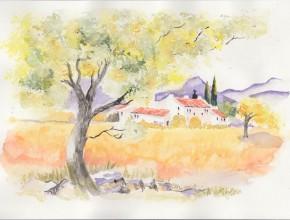 Akvarel krajinka